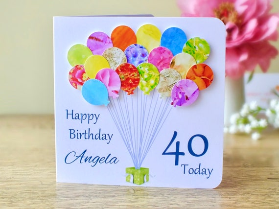 Personalised Happy 40th Balloons Card