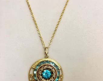 Turquoise Rhinestone and Gold Pendant Necklace, One of a Kind, 20.5 Inch Gold Chain, Pendant 1.25 Inches Long 1 Inch Wide