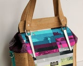 Aster Shoulder Bag in Avantgarde Art Gallery rainbow fabrics with Cork Leather Tote, Blue Calla, purse, cross body, handbag