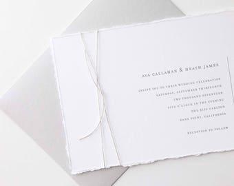 Simple Wedding Invitation Sample - Ava | Minimalist Wedding Invitation | Gray Wedding Invitations | Typewriter Wedding Invites