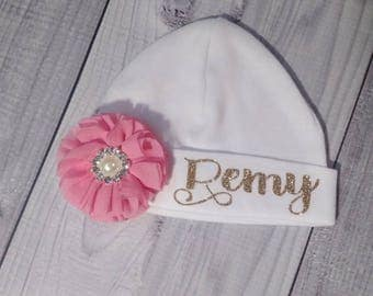 Baby Girl, baby hat, hat, beanie, baby beanie, personalized, custom, hat with name, infant, newborn, coming home, outfit, take home, girl