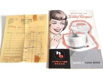 Hamilton Beach Stand Mixer Model K Instruction Manual Recipe Book, Receipt 1950s