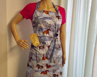 Apron, Full Chef's Apron, Horses on one side and Forest scene on the reverse.