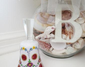 Vintage Czech Bohemian Bell Cranberry Glass Milk Glass Hand Painted Flowers Home Décor Collectible Art Glass Crystal
