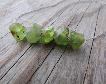 Raw Peridot Necklace, raw green peridot nuggets, sterling silver chain