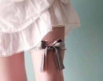 Grey pink silk bridal garter - size small