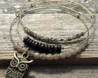 Expandable Beaded Bangle Bracelets- copper owl set of 3- adjustable bangle, stacking bracelets