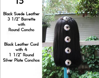 Black Leather Cascading Silver Concho Hair Barrette 15""