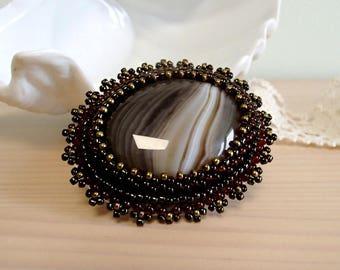 Agate Brooch, Bead embroidered Brooch, Beadwork Brooch , Handmade Jewelry