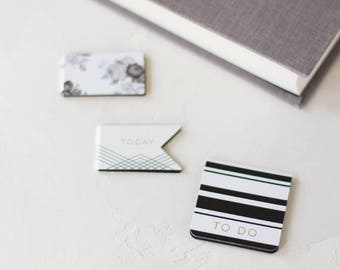 Black White w/ Gold Foil Details Botanical Folding Bookmark Magnet Set - 3 pc
