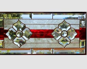 Red Bevel cluster stained glass window panel flower clear stained glass panel window hanging  flower transom 0270 21 1/2 x 10 3/8
