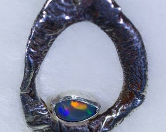 Textured Silver and Opal 'Nature' Pendant