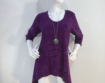 M & L purple tie dye tunic top with scoop neck in bamboo/cotton fabric.