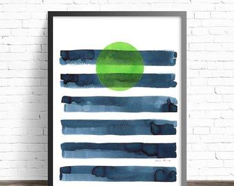 Green Moon Art Print. Blue and green Minimalist decor. Abstract art. Modern prints. Abstract print. Modern art print. Minimalist print