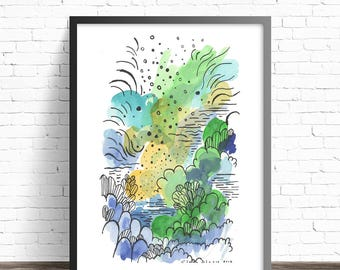 Abstract Watercolor Print. Abstract painting print. Abstract Art prints. Abstract watercolor painting. Modern watercolor. Abstract print