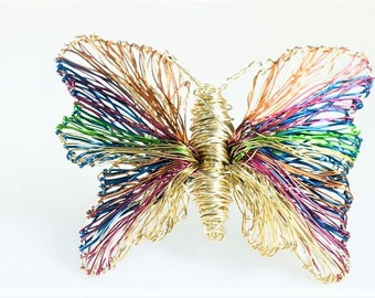 Rainbow butterfly brooch, gold butterfly, art Jewelry, insect, wire jewelry, unique gift for women, cute pin, hippie chic, Christmas gift