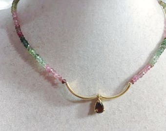 Watermelon Tourmaline Necklace - Green Pink Gemstone Jewelry - Sterling SilverGold Jewellery - Luxe - Chic