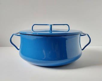 Dansk Dutch oven, blue enamel pot, Kobenstyle cookware, Scandinavian design pot, French enamel pot three quart covered pot
