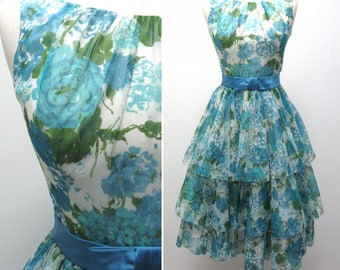 Pretty Vintage 1950s Jr. Theme Blue Floral Dress with Satin Bow Belt and Scoop Back