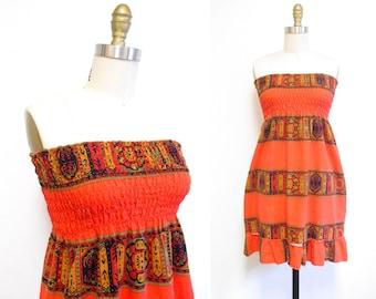 Vintage 1960s Tiki Print Sundress | Orange Cotton 1960s 70s Sundress | size small-medium