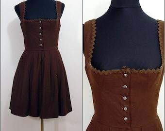 Bohemian VINTAGE Bavarian DIRNDL Brown Button  Front Folk Dress Uk 10 Fr 38 Oktoberfest / Tyrol / Austrian / German
