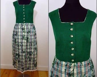 Bohemian VINTAGE Bavarian Green Red Check Dirndl Country Folk Dress  UK 22 Fr 50 Oktoberfest / Tyrol / Austrian / German/ Celtic