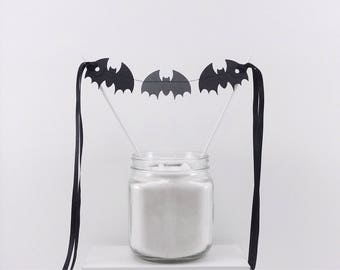 Shimmery Bats Cake Topper: Halloween Cake Topper, Halloween Cake Pick, Dessert Decor, Halloween Smash Cake, Black Bats, Classy Halloween