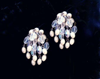 Chandelier Earrings Aurora Borealis Pearl Vintage Large Clip On Style