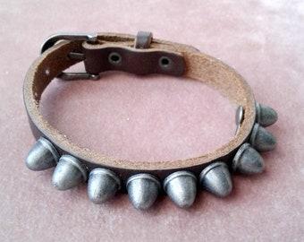 Leather Biker Bracelet Spikes Unique