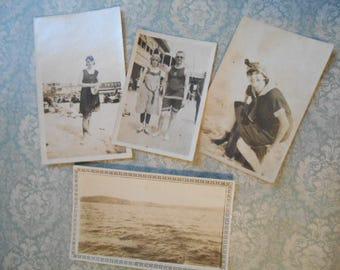 4 Sepia Edwardian 1900s Beach Photographs Original