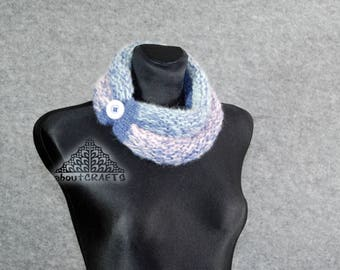 Knitted neckwarmer, Knitted cowl scarf, Winter women scarf, Buttoned cowl, Scarf, Blue and pink scarf, Hand knit cowl scarf, Gift for her