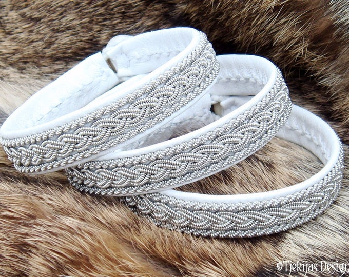 Swedish Lapland Sami Bracelet MJOLNIR Viking Cuff in White Leather decorated with Pewter Braids - Handcrafted Natural Nordic Elegance