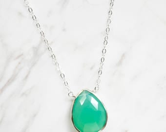 Green Chrysoprase Necklace, Stone Necklace, Chrysoprase Pendant, Simple Stone Necklace, 14kt Gold Filled or Sterling Silver