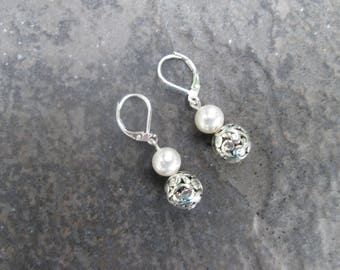 Swarovski Pearl and Silver Filigree Ball earrings with Sterling Silver Leverbacks Filigree Dangle earrings Pearl earrings