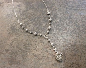 "Y Style Heart Necklace with Rosary style chain and Silver Filigree beads Silver Filigree necklace 17 1/2"" Gift for Her"