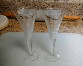Vintage Etched Mikasa Herringbone/Horizontal Cordial Glasses, Set of 2, Glassware, Barware, Stemware