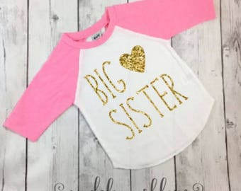 Big Sister Shirt-Big Sister Announcement Shirt-Big Sister Outfit-Big Sister Shirt Announcement-Big Sister Shirt-Pink Raglan Top