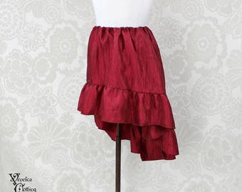 """Steampunk High Low Mini Cecilia Skirt -- Cherry Crinkle Taffeta -- Ready to Ship -- Best Fits Up To 45"""" Waist"""