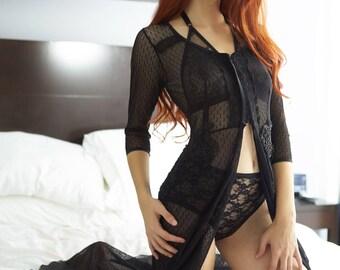 Sheer Erotic Full length Robe, gown, boudoir apparel, luxury gift for her, Wife, girlfriend, lover, finacee, anniversary, birthday