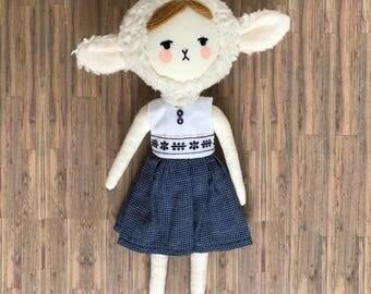 Cute handmade sheep plush doll