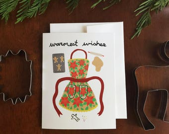 Greeting Card - Christmas - Warmest Wishes - Baking, cookies, holiday, apron, gingerbread, candy