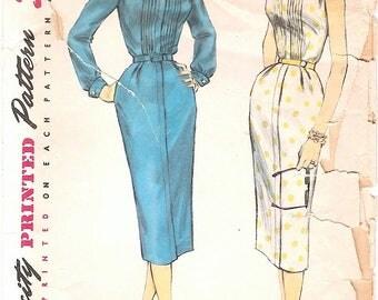 Great Vintage 1950s Simplicity 1654 Slim Sheath Shirtwaist Dress with Pin Tucks, Long Sleeves or Sleeveless Sewing Pattern B32