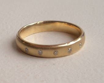 Yellow Gold Diamond Wedding Band - Size 10 - Men's Band