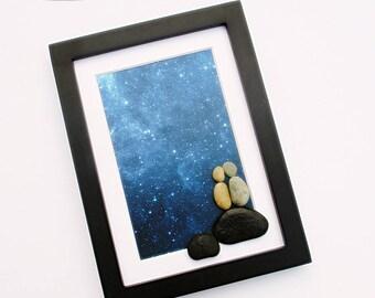 "Pebble Art: Star Gazing - 6"" by 8"" black frame, modern art, minimalist art, original wall art, nature art"