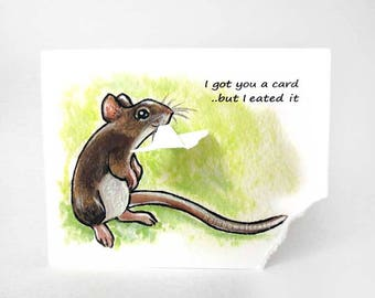 Cute Mouse Card, Pet Owner, Funny Card, Brown Mouse, Rat Print, Custom Name, Personalized Message, Animal Art, Birthday Card, Mother's Day