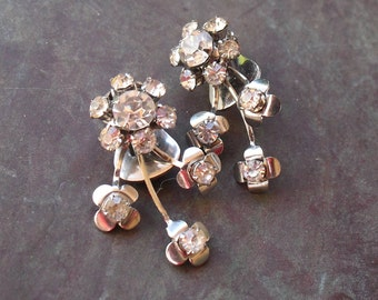 Vintage Rhinestone Earrings - Bridal Floral Sprays - Diamante 1950s Wedding Jewelry - Mint Condition
