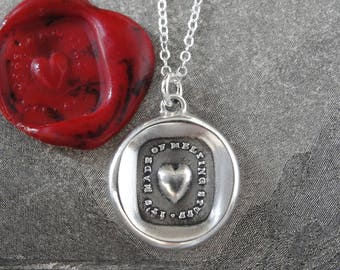 Heart Wax Seal Necklace - Made Of Melting Stuff - antique wax seal charm jewelry English soft-hearted tender motto by RQP Studio