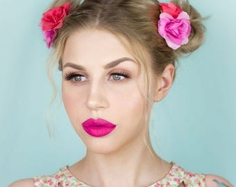 Pink Tones flower hair clips Duo