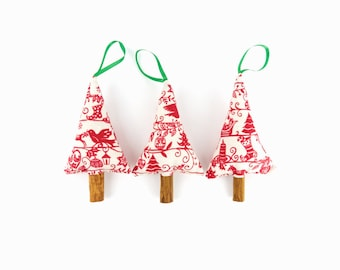 Red and Cream Cinnamon Christmas Trees, Scandinavian Christmas Decorations, Traditional Christmas, Rustic Natural Christmas Decor