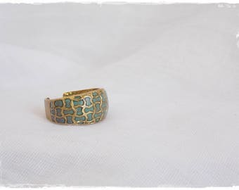 Turquoise Cage Ring, Brass Cage Ring, Vintage Style Ring, Polymer Clay Ring, Vintage Brass Ring, Vintage Dome Ring, Brass Dome Ring